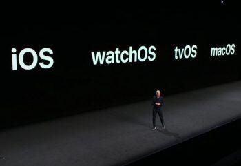 Tim Cook, CEO d'Apple, sur scène pour la keynote WWDC 2018