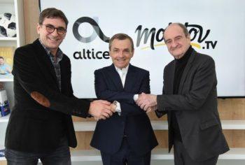 Jean-David Blanc et Pierre Lescure (Molotov) autour d'Alain Weill (Altice France)