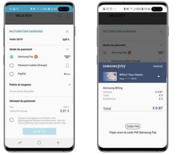 Samsung Pay: illustration paiement in-app