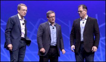 De droite à gauche: Michael Dell, CEO de Dell Technologies; Pat Gelsinger, CEO de VMware et Robert Mee, CEO de Pivotal.