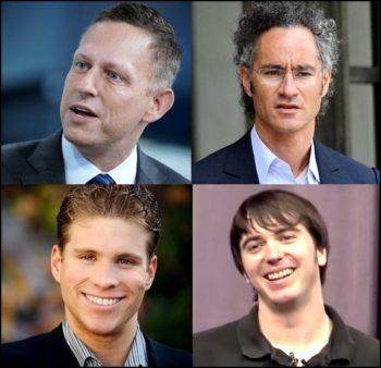 4 des 5 cofondateurs de Palantir: Peter Thiel, Alexander Karp, Joe Lonsdale et Stephen Cohen (Nathan Gettings est invisible sur le Web...)