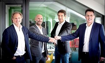 Jean-Stéphane Arcis (CEO), Alexandre Pachulski (CPO) et Joël Bentolila (CTO), les cofondateurs de Talentsoft et Pascal Houillon, directeur général de Cegid (depuis mars 2017)
