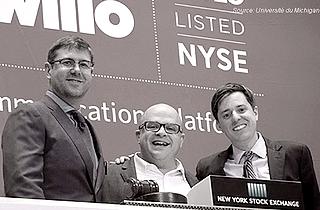 Les co-fondateurs de Twilio: John Wolthuis , Jeff Lawson (CEO) et Evan Cooke (CTO) los de l'entrée en bourse le 23 juin 2016