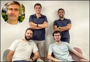 Cofondateurs de MetaAPI (de gauche à droite): Jean-Marc Munerelle -médaillon-, Marcel Tessier, Kevin Herembourg, Mathieu Rasse et Salim Moulmaaz.